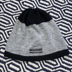MOSCHINO •  Grey Black Cashmere Blend Hat Beanie